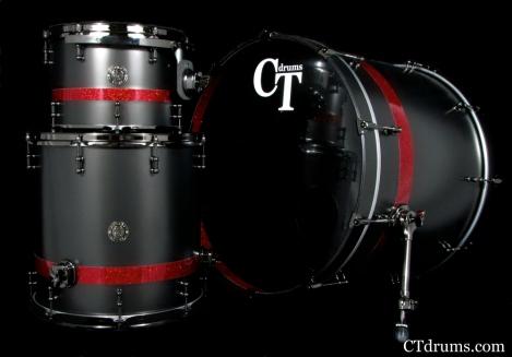 3pc Satin Metallic Black w/ Red Glass Stripes