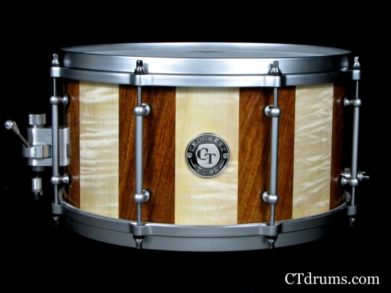 "7x13"" Bubinga / Figured Curly Maple w/ Satin Hardware"